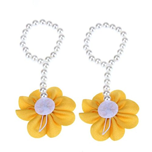 YUAN 1Pair Säuglings-Perlen-Chiffon- Barfuß-Kleinkind-Fuß-Blumen-Strand-Sandelholze Yellow