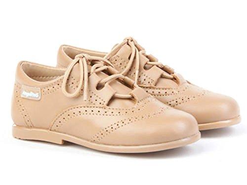 ANGELITOS Zapatos inglesitos de Piel Para Niña y Niño Unisex Color Camel. Marca Modelo 505. Calzado...