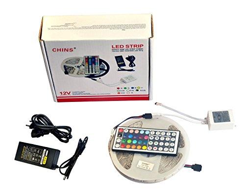 CHINS® 10M 2x5M LED(SMD) Strip Bande Flexible 5050 SMD 300 LEDs RGB STRIP LED+ Télécommande IR 44 touches + Alimentation