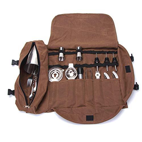 Cocktail-Werkzeug-Set, tragbare Tragetasche, 14-teilig, komplett gepolstert, leicht zu transportieren, braun