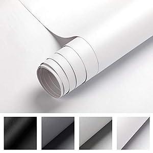 Selbstklebende Klebefolie, 0.61 * 5M weiße verdickte Küchenschrank Aufkleber Matt Möbelfolie für Möbel Schrank Tische Wand Folie Tapete Dekofolie