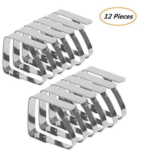 Emwel Tischdeckenklammer - 12 STÜCK Tischtuch Klammer Edelstahl Tischdeckenklemmen Tischdeckenhalter Tischdeckenhalter (7 cm x 8 cm) für Dicke 3-5 cm