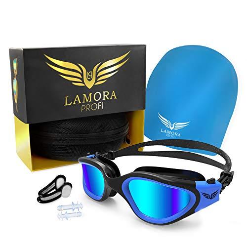Lamora Profi 4-teiliges Schwimmset: Schwimmbrille, Badekappe, Ohrstöpsel, Nasenklammer   Inkl. Tragetasche   Unisex   Verspiegelte Anti-Fog Schwimmbrille mit UV-Schutz für Erwachsene   Mega Geschenk