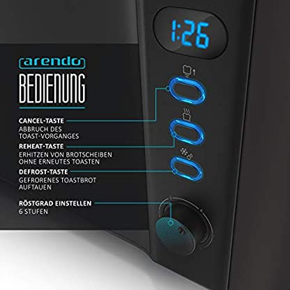 Arendo-Toaster-Langschlitz-2-Scheiben-Defrost-Funktion-1000W-Doppelwandgehuse-Integrierter-Brtchenaufsatz-Brunungsgrade-1-6-Display-mit-Restzeitanzeige-Edelstahl-schwarz-matt
