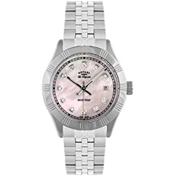 Rotary Women's Quartz Watch with Mother of Pearl Dial Analogue Display and Silver Stainless Steel Bracelet LB90100/07