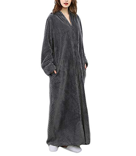Cozy Robe (Kitrack Bademantel Frottier Flanell Roben Luxury Weiche Robe Cozy Fluffy FüR Frauen/MäNner,Gray,XL)