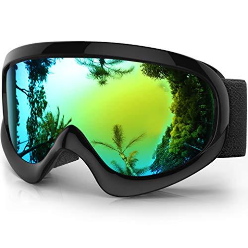 findway K2 Skibrille Snowboardbrille Kinder - Ski Snowboard Brille Brillenträger Schneebrille Verspiegelt für Kinder Jungen und Mädchen 3 4 5 6 7 8 9 10 11 12 Jahre OTG Anti-UV Anti-Fog (Gold) (Snowboard-brillen Blaue)