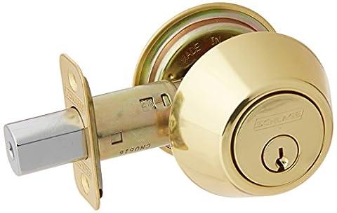 Schlage Lock Company JD62V605 Schlage Double Cylinder Deadbolt, Bright Brass