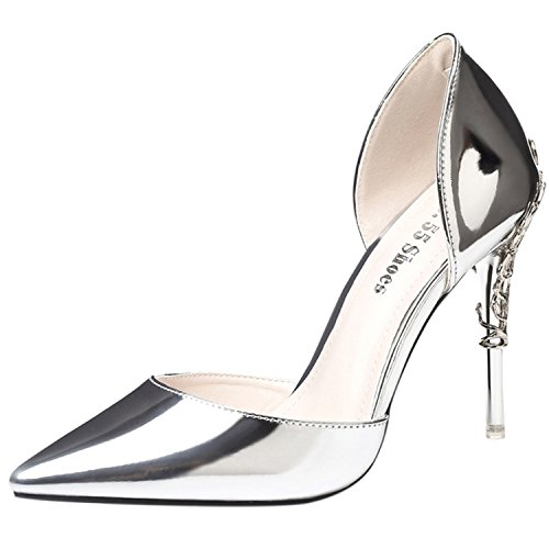 Oasap Women's Pointed Toe Low Cut Stiletto Club Pumps Silver