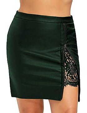Falda Mujer de Lápiz de Cuero PU Cintura Alta Mini Falda de Encaje con CremalleraTamaño Estándar, M - 2XL