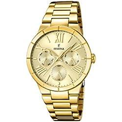 Festina F16717/2 - Reloj de cuarzo para mujer, con correa de acero inoxidable chapado, color dorado