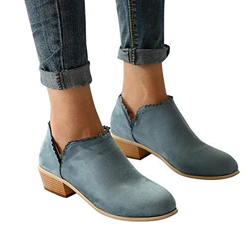 Botines Mujer Tacon Medio Planos Invierno Tacon Ancho Piel Ante Botas Botita Moda Planas 3cm Casual Zapatos Calzado Caqui Negros Rosa Azul 35-43 GR40