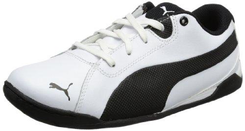 Puma Racing Cat Jr, Baskets mode garçon Blanc - Weiß (white-black 01)
