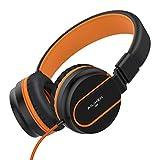 Kopfhörer, Kopfhörer mit Mikrofon Faltbar on Ear Kopfhoerer für iPhone Android Smartphones PC Laptop (schwarz/orange)