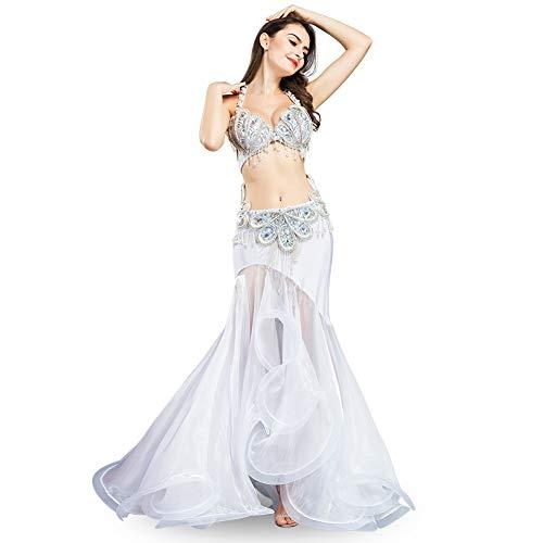 (ROYAL SMEELA Bauchtanz-BH-Rock Kostüm-Sets Luxuriöses Pailletten-Bohrdesign Bauchtanz Performance Kostüm BH und röcke Anzug für Frauen Damen)