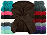 npluseins extra weicher Kapuzen-Bademantel aus Kuschelfleece - in modernen Farben und verschiedenen Größen - Unisex & wadenlang, M, braun