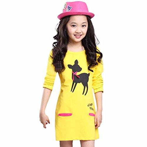 (Kleid Mädchen, HUIHUI Festlich Prinzessin Party Kleid Mode Hirsch Cartoon Tasche Lange Ärmel Rock Casual Frühling Sommer Herbst Bekleidung 1-7 Jahr (130 (3-4Jahr), Gelb))