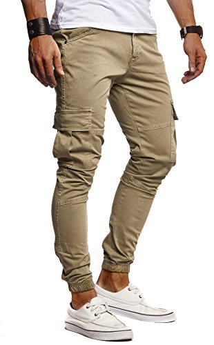 LEIF NELSON Herren Hose Jeans Jeanshose Chino Cargo Chinohose Jogger Freizeithose Slim Fit LN9285; W32L30, Khaki - Khaki Hose Herren