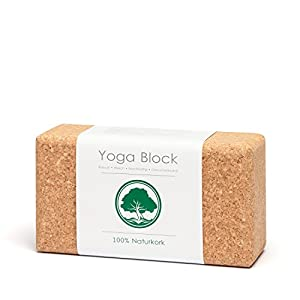 AWORA Yoga Block aus 100% Natur Kork | Hilfsmittel inkl. PDF-Leitfaden: Yogablock mit 6 Asanas | Yogaklotz, Yoga Klotz | 100% vegan