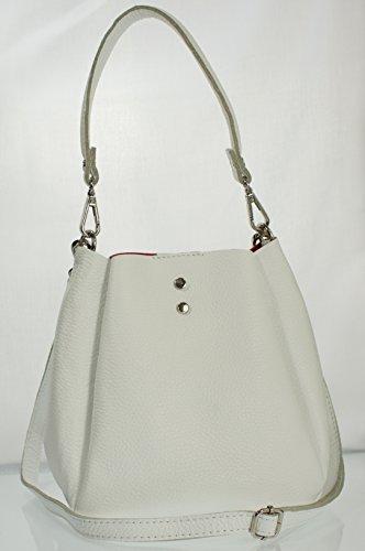 Echt Leder Ledertasche Beuteltasche Damentasche Schultertasche Umhängetasche (weiss) weiss