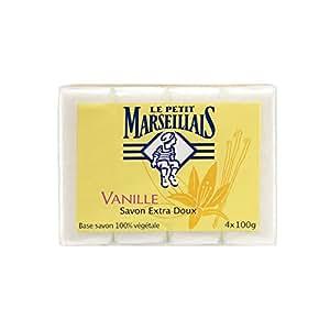 Le Petit Marseillais - Savon extra doux à la vanille, base savon d'origine végétale - Le paquet de 4 savons de 100 g - (pour la quantité plus que 1 nous vous remboursons le port supplémentaire)