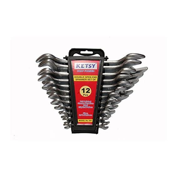 KETSY Chromium Vanadium Steel 563 Double Open End Spanner, 6x7/8x9/10x11/12x13/14x15/16x17/18x19/20x22/21x23/24x27/25x28/30x32mm (563) - Set of 12
