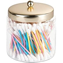 mDesign Cotton Pad Holder - Cotton Bud Holder - Glass Bathroom Jars with Lids - Versatile Use - Cotton Bud and Pad Holder - Bathroom Storage jars - Transparent