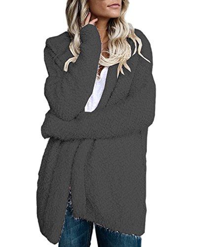 Minetom Donna Sportiva Del Cappotto Morbido Giacca Giubbino Autunno Caldo Fluffy Shaggy Cardigan Giacche Manica Lunga Outwear Grigio