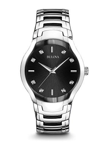Bulova Hombres del diamante 96d117plata acero inoxidable reloj de cuarzo