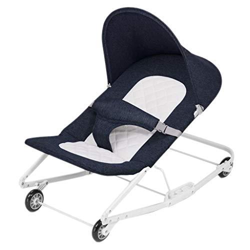 Fahrbarer Schaukelstuhl Aluminium Faule Person Waschbar Falten Sleepy Liegen Korb Beschwichtigen Schaukel 4 Farben 76 cm * 43 cm * 45 cm MUMUJIN (Color : Blue)