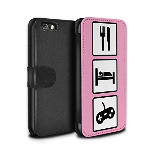 Stuff4 Coque/Etui/Housse Cuir PU Case/Cover pour Apple iPhone SE / Pack 10pcs Design / Manger/Sommeil Collection Jeu/Jeux/Rose