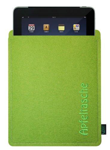 Filztasche für iPad, lime, mit Stickerei Apfeltasche; speziell angepasst, 100% Wollfilz, Qualität aus Deutschland (Krone-wappen-stickerei)
