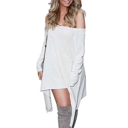 Femmes Chandails Dépaule Libre Manches Longues Irregulieres Mini Robe Tricot Pullover Pull Blanc 1
