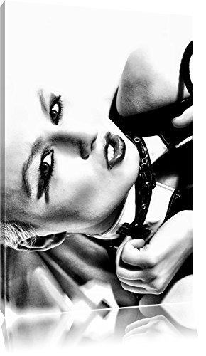 Pixxprint Sexy Woman mit Rose / 60x40cm Leinwandbild bespannt auf Holzrahmen/Wandbild Kunstdruck Dekoration