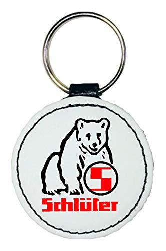 Leder Schlüsselanhänger | Schlüter Logo | rund | weiß