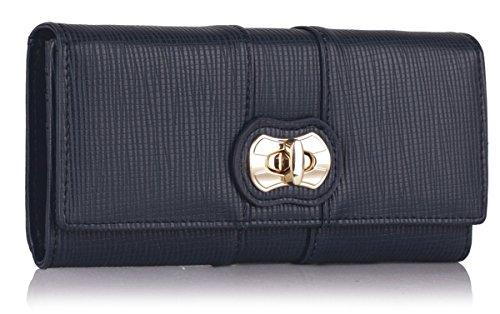- 41PF6f6UacL - Xardi Navy New Faux Leather Twist Lock Women Purse Designer Ladies Girl Wallet Gift