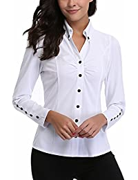 MISS MOLY Women's Formal V Neck Long Sleeve Blouse Top