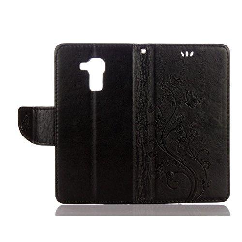 LEMORRY Huawei Honor 5c Custodia Pelle Cuoio Flip Portafoglio Borsa Sottile Fit Bumper Protettivo Magnetico Chiusura Standing Card Slot Morbido Silicone TPU Case Cover Custodia per Huawei Honor 5c (Ho Nero