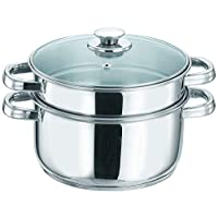 Vinod VCS026 Stainless Steel 2-Tier Steamer with Glass Lid, 20 cm - Silver