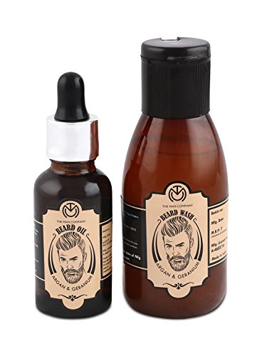 The Man Company Oil for Beard Moustache and Mooch - 30 ml (Argan and Geranium) with Beard Wash - 100 ml