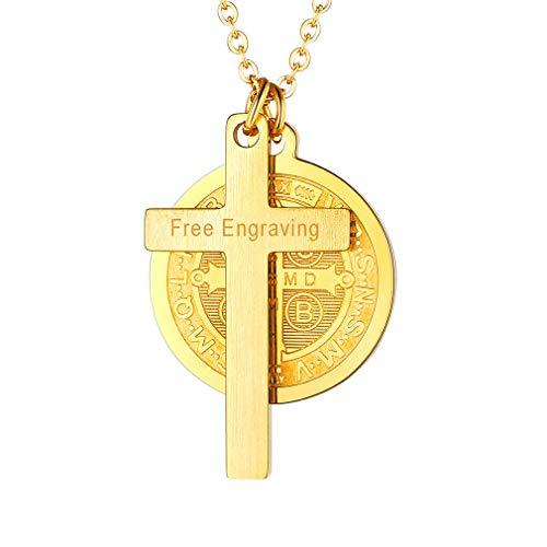 FaithHeart Damen Halskette mit Kreuz Anhänger Amulett Ketten Gold Der Christentum St Michael Katholische Schmuck Religiöse Kette mit SOFORTGRAVUR