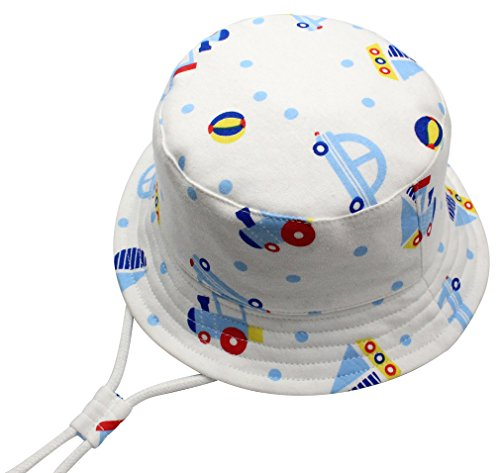 Lukis Baby Toddler Kid Bucket Sun Hat 50 UPF Cotton Cartoon Bus Cap Adjustable