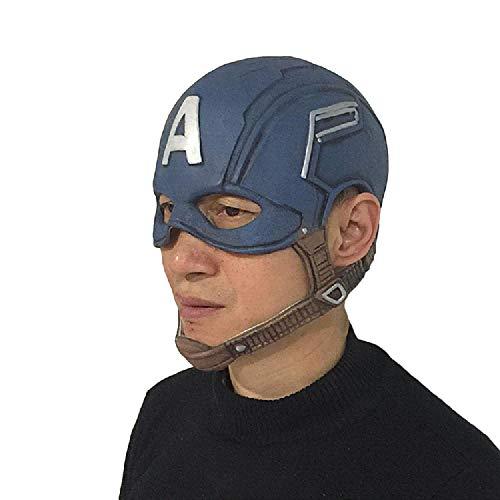 Kostüm America Filme Captain - QWEASZER Captain America Maske Helm Adult Marvel Avengers Latex Vollmaske Halloween Film Cosplay Kostüm Requisiten Zubehör,Captain America 1 2 3-50~70cm