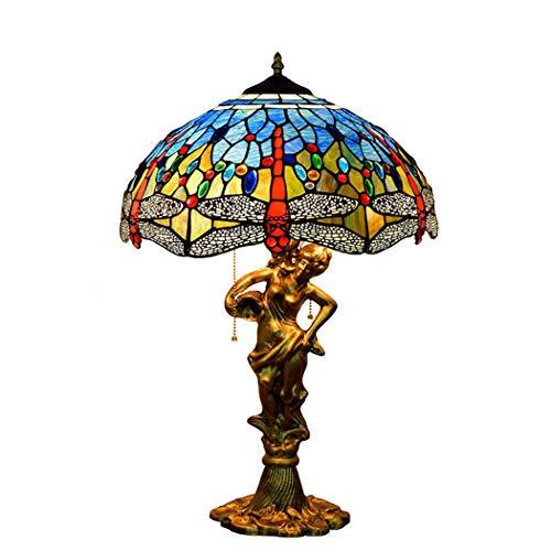 YJFFAN Aluminium-Legierung Beauty Base Art Tischlampe, Mediterrane Blaue Libelle Glas Wohnzimmer Schreibtisch Lampe Schlafzimmer Bedside 16-Zoll-Pull-Linie Große Leselampe E27