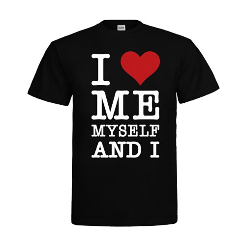 MDMA T-Shirt I Love Me Myself and I mdma-t00100-10 Textil black / Motiv weiss Gr. (Studium Online Design Kostüm)