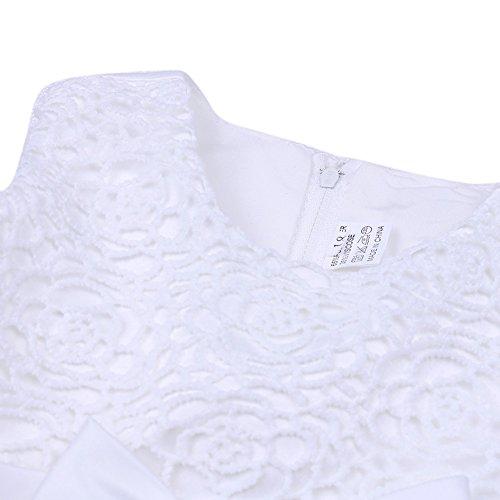Tiaobug Baby Kleid für Mädchen weiß Taufkleider - baby festliche Kleider für Hochzeit Kommunionkleider 6-24 Monate Weiß 68-74 - 4