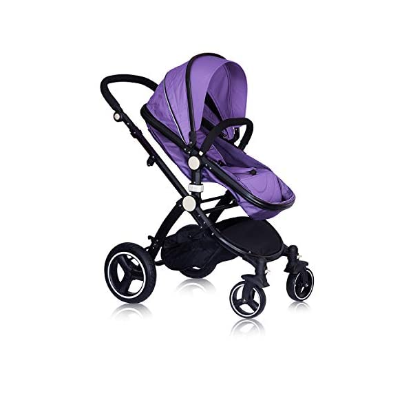 High Quality Baby Stroller IBEIS Prams 2 in 1 for Newborns European Folding Baby Carriage for 0 to 36 Months (Purple) IBEIS 360 degrees turn Easy fold-able button Tiltable (various angles) 4
