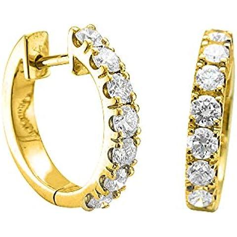 Diamond Delight da donna, 10 K & Huggies-Orecchini a cerchio, (VVS1 VVS2, 1 k)