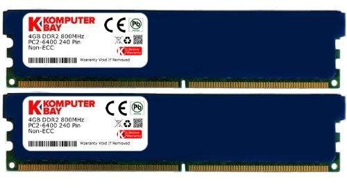 Komputerbay 8GB (2x 4GB) 240-PIN 800MHz PC26400 / PC26300DDR2DIMM Arbeitsspeicher mit Hitzeverteilern -