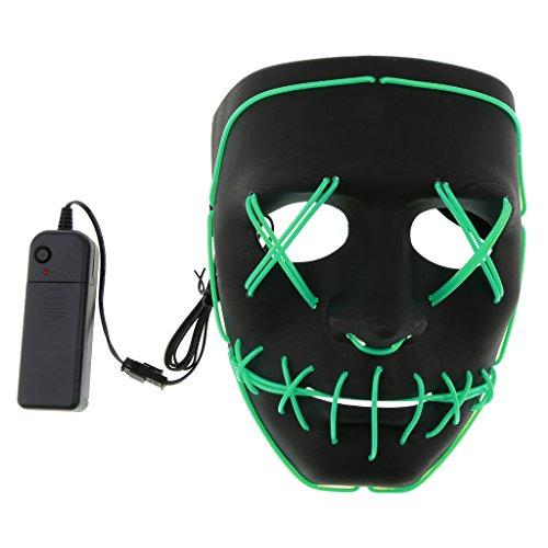 Homyl LED Licht Leucht Maske Halloween Cospkay Kontrollmaske für Festival Party - Grün